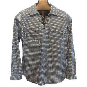 Ruff Hewn tie peasant pullover shirt M